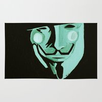 vendetta Area & Throw Rugs featuring V, from V for Vendetta by Paxelart
