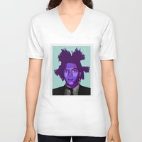 basquiat V-neck T-shirts featuring Basquiat by Grace Teaney Art
