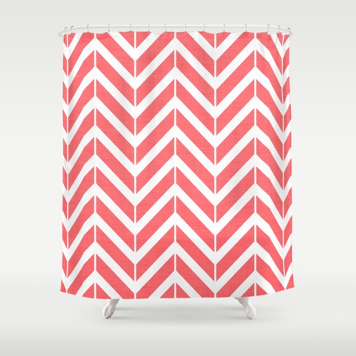 Coral Broken Chevron Shower Curtain By Thepetitepear