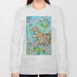 Storybook Squirrel Love with blue background Long Sleeve T-shirt