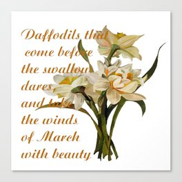 Daffodils That Come Before The Swallow Dares Shakespeare Quote Canvas Print