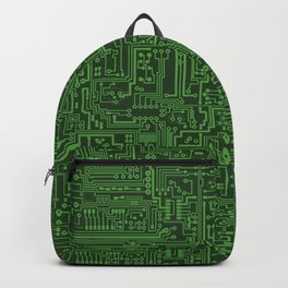 Circuit Board // Light on Dark Green Backpack