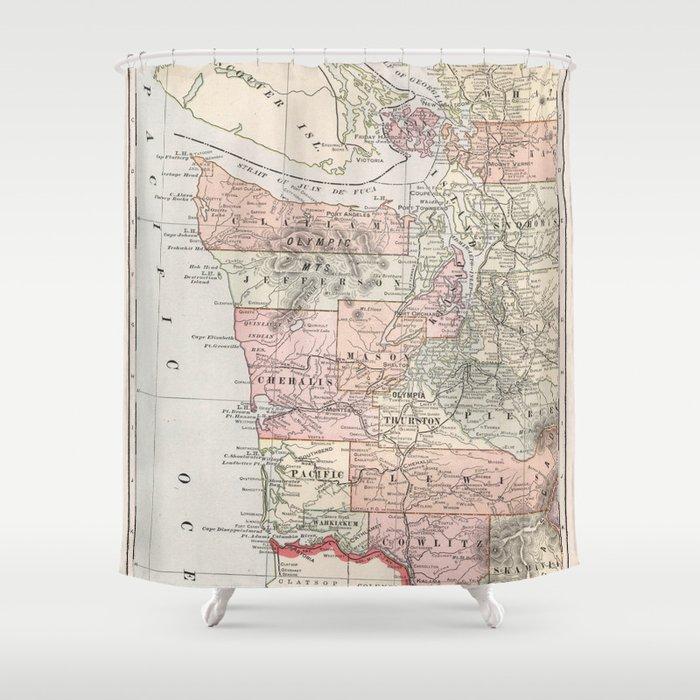 Vintage Coastal Washington State Map (1901) Shower Curtain by bravuramedia
