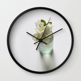 White Gardenia in Aqua Blue Vase Wall Clock