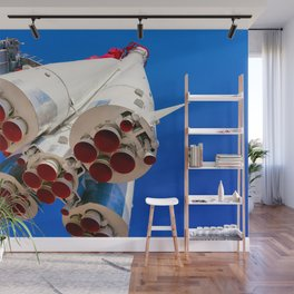 Vintage Spacecraft Against The Background Of Blue Sky Wall Mural