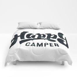 HAPPY CAMPER Black and White Retro Comforters