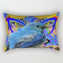 DECORATIVE BLUE BIRD IN GOLDEN ART Rectangular Pillow