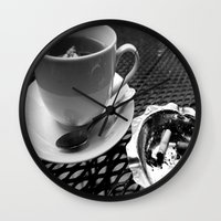 cafe Wall Clocks featuring cafe by Emily Baker Photography and Design