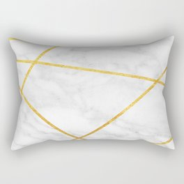 White Carrara marble with gold lines Rectangular Pillow
