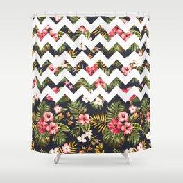 Floral Chevron Shower Curtain