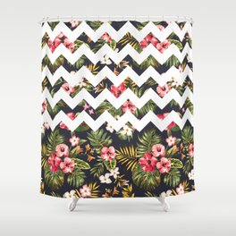 Floral Chevron Shower Curtain