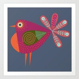 Red fantailed Folk Bird Art Print