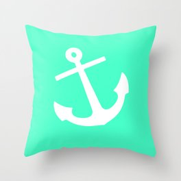 Mint Anchor Throw Pillow