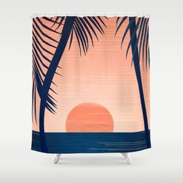 Sunset Palms - Peach Navy Palette Shower Curtain