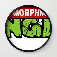 power rangers Wall Clocks featuring Teenage Morphin Ninja Rangers by sbruny35