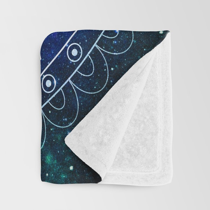 Om Mandala : Blue Green Galaxy Throw Blanket