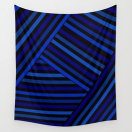 Dark blue striped patchwork Wall Tapestry