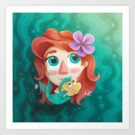 mermaid girl / niña sirena Art Print