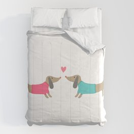 Cute dog lovers in love with heart Comforters