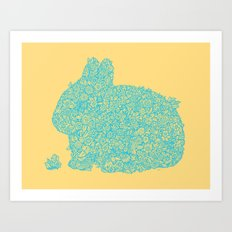 Flowers for my bunny Art Print