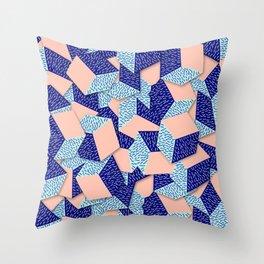 Colorful Aqua Geometric Pattern Throw Pillow