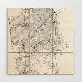 San Francisco White Map Wood Wall Art