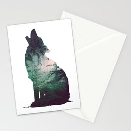 Dark forest and wolf Stationery Cards