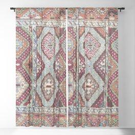 Gaziantep  Antique Turkish Rug Print Sheer Curtain