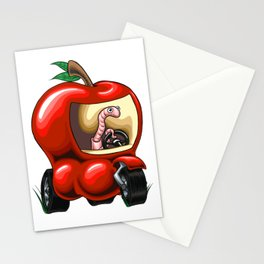 Worm Driving and Apple Tuk Tuk Stationery Cards