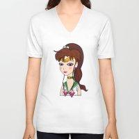 sailor jupiter V-neck T-shirts featuring Lady Sailor Jupiter by Pendientera