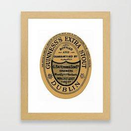 Vintage Guinness Extra Stou Label Framed Art Print