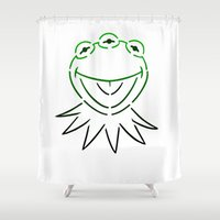 kermit Shower Curtains featuring Monsanto Kermit Says...(white) by Mutant Colony