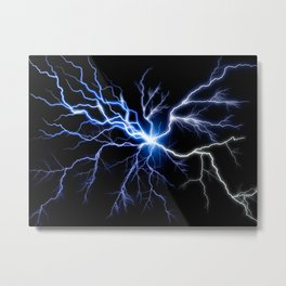 Blue Thunder Colorful Lightning digital impression Metal Print