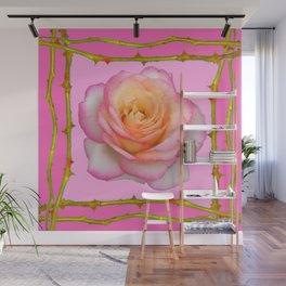 ROSE & RAMBLING THORNY CANES PINK BORDER PATTERNS Wall Mural
