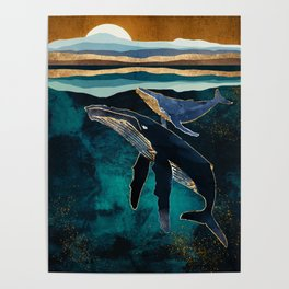 Moonlit Whales Poster