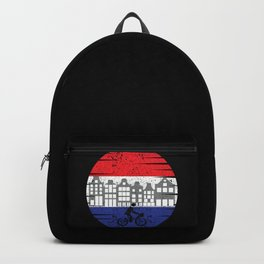 Amsterdam Cycologist riding bike in Amsterdam,great gift for biking adventure lovers and mountain bikers Backpack