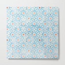 Hara Tiles Light Blue Metal Print
