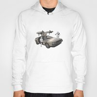 delorean Hoodies featuring Lost, searching for the DeathStarr _ 2 Stormtrooopers in a DeLorean  by Vin Zzep