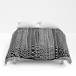 Black white hand painted geometrical aztec pattern Comforters