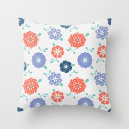 Block Print Flowers Throw Pillow