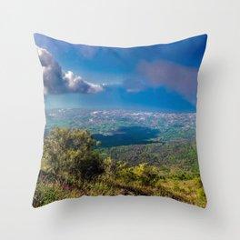 Scenic landscape from Mount Vesuvius in Naples, Italy. Throw Pillow