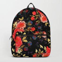 Dark Chintz Floral Pattern Backpack