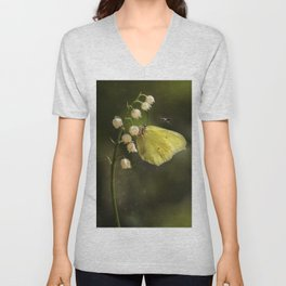 Yellow butterfly on lily of the valley flowers Unisex V-Neck