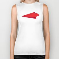 plane Biker Tanks featuring Paper plane by Becky Gibson