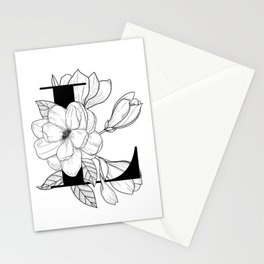 Monogram Letter L with Magnolia Line Art  Stationery Cards