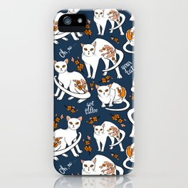 Oh, no! Your cat got a tattoo (blue) iPhone Case
