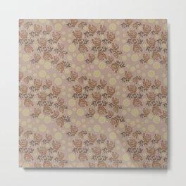 Grey Flowers Metal Print
