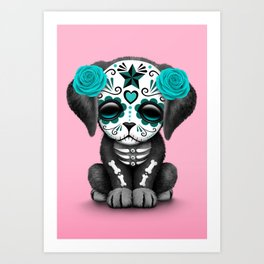 Cute Blue and Pink Day of the Dead Puppy Dog Art Print