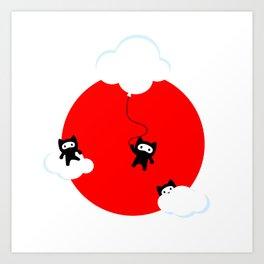 Ninja cats in the sky (Japanese edition) Art Print