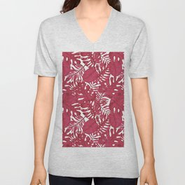 Modern tropical bright pink cheese leaves floral Unisex V-Neck